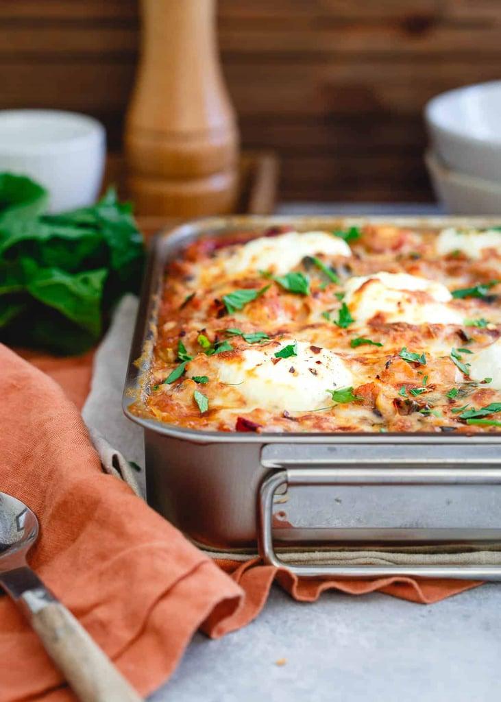 Turkey Sausage Spaghetti Squash Baked Ziti With Mushrooms and Chard