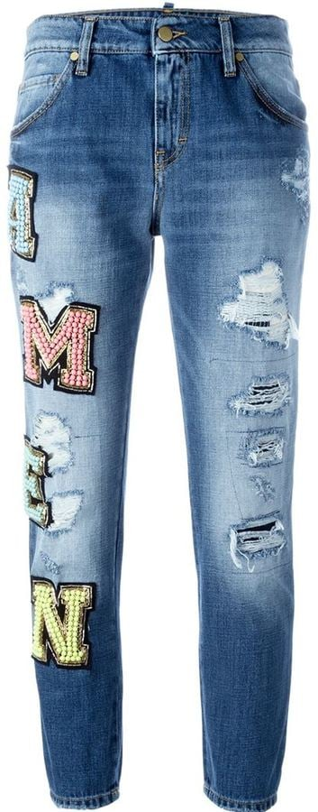 Amen Beaded Logo Patch Jeans ($517)