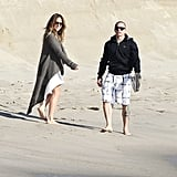 Jennifer Lopez and Casper Smart hit the beach.