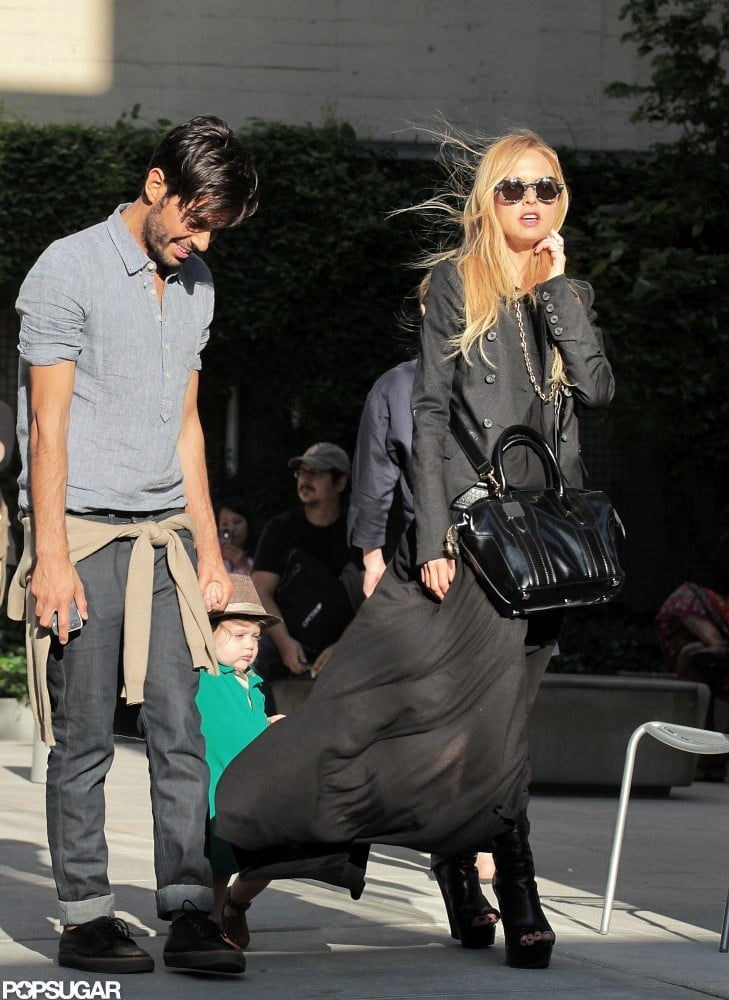 Rachel Zoe wore all black as she hung out with Joey Maalouf and baby Skyler in SoHo.