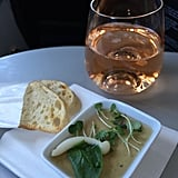 As a fan of rosé, I was pretty excited to see Roederer Estate Brut Rosé on the menu and find out that JetBlue was the first U.S. airline to serve rosé. Oh, and it was delicious. The truffled portobello mushroom mousse? Not so much. I couldn't get over the gelatinous texture, and the crostini tasted stale.