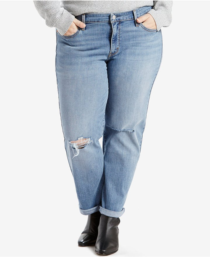 Floral Embroidered Boyfriend Jean Description: This hand-sanded light wash denim has that coveted vintage look with extreme fading and distressed accents, complete with a relaxed hip and thigh and a slim straight leg feel brand new.