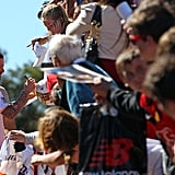 David Beckham signed autographs at a Galaxy training camp yesterday.