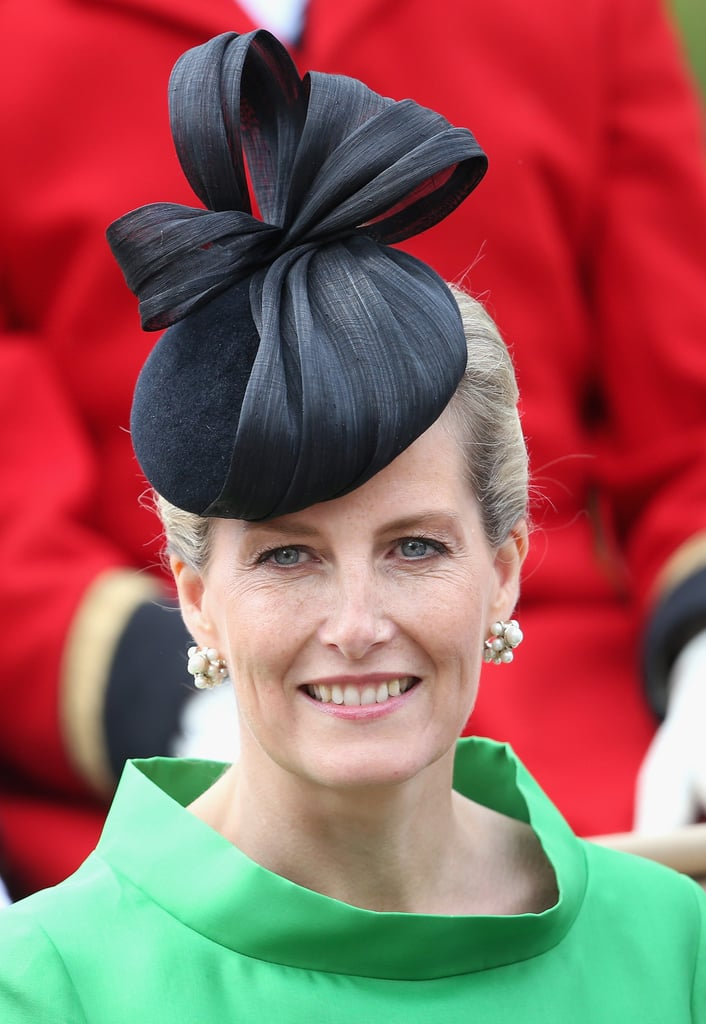 Sophie, Countess of Wessex, wore this black gauzy number to the Order of the Garter service in 2015.
