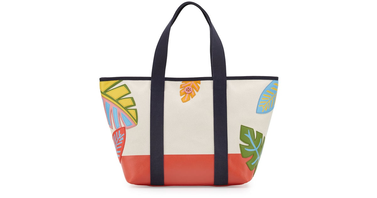 Tory burch leaf applique canvas beach tote bag natural $350