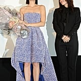 Marion Cotillard was presented with flowers during the Tokyo premiere of Rust and Bone.
