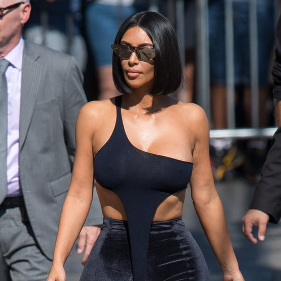 Kim Kardashian's Velvet Pants and Crop Top on Jimmy Kimmel
