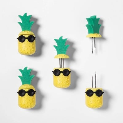 8pk Pineapple Corn Holders Yellow