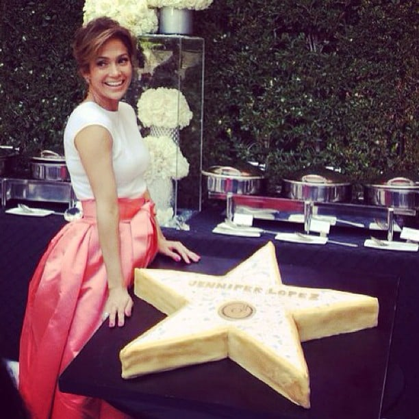 Jennifer Lopez celebrated her star on the Hollywood Walk of Fame with a giant star-shaped cake. Source: Instagram user jlo