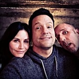 Josh Hopkins snapped a photo with Courteney Cox and Bob Clendenin on the set of Cougar Town. Source: Instagram user mrjoshhopkins