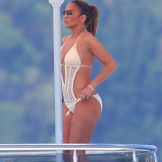 Jennifer Lopez's Crochet Swimsuit in Paris