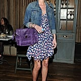 Nicky Hilton showed us what holiday season dressing looks like in LA — just a little floral, denim, and a pop of Proenza.