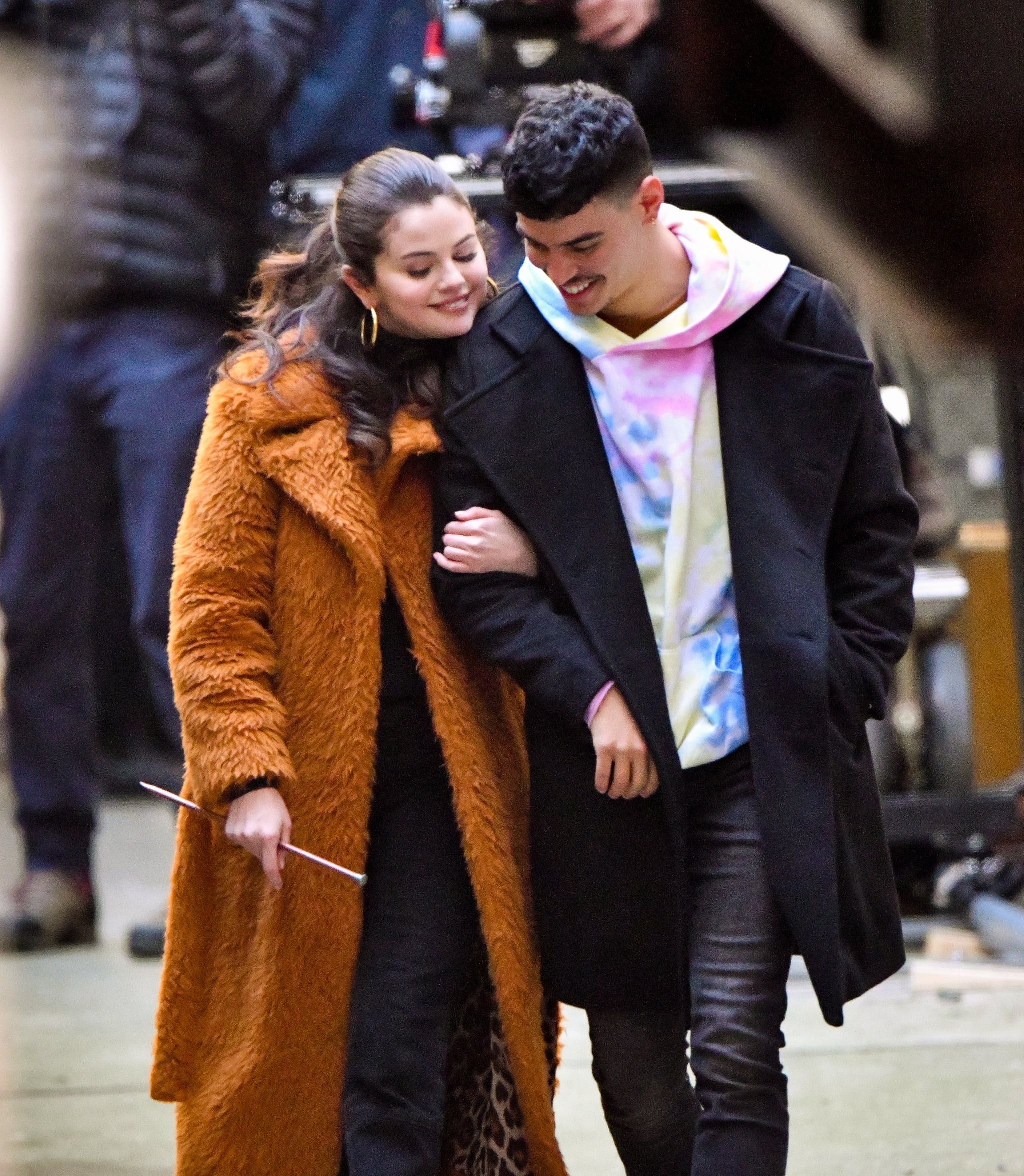 """NEW YORK, NY - FEBRUARY 24: Selena Gomez and Aaron Dominguez seen on the set of """"Only Murders in the Building"""" in Manhattan on February 24, 2021 in New York City. (Photo by James Devaney / GC Images)"""