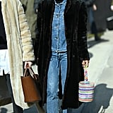 Mix high and low by pairing your most ladylike of ballet skimmer with a Canadian tuxedo or boiler suit.