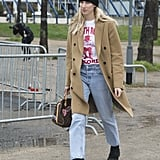 Mix Up a Classic Coat With a Basic Beanie and Jeans