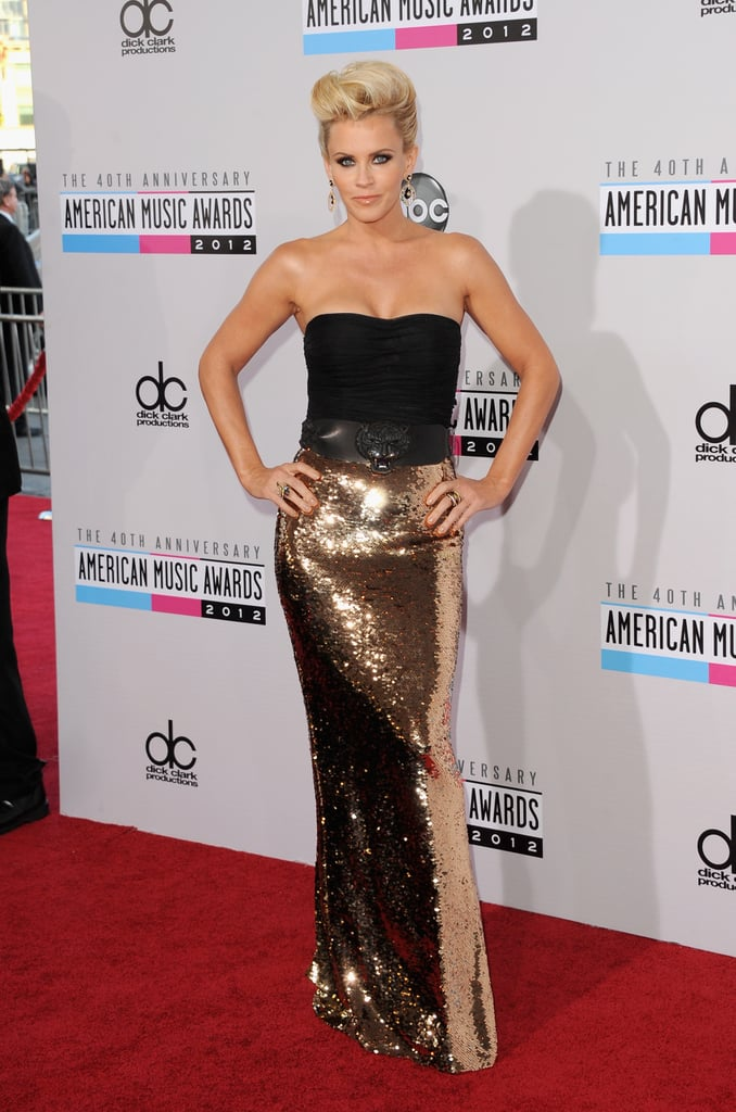Jenny McCarthy punched up a strapless black top with a gold skirt that was as bright enough to light up a dance floor.