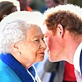 Queen Elizabeth II greets Prince Harry in 2015.