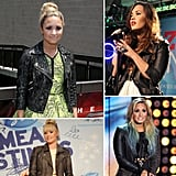 Demi Lovato can usually be spotted in a flirty printed dress finished with an edgy leather jacket with studs, zippers, and snap buttons. Check out Demi in a bevy of stylish biker jackets, and then shop similar styles for yourself.