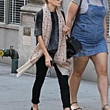 Ashley Olsen's scarf blew in the wind.
