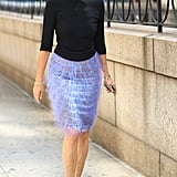 Carine Roitfeld worked a pair of statement shades, a bold pencil skirt, and kelly green heels all with ease. Source: Greg Kessler