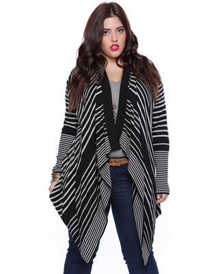 Striped Waterfall Front Cardigan ($25)