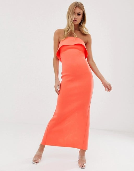 ASOS DESIGN Bandeau Tuck Back Maxi Dress