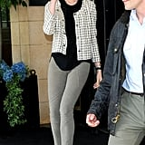 When Anne Hathaway wasn't on the red carpet, she was showing off her chic street style with looks like this one. We love her balance of a ladylike jacket and Stella McCartney pumps with her army-green skinnies.