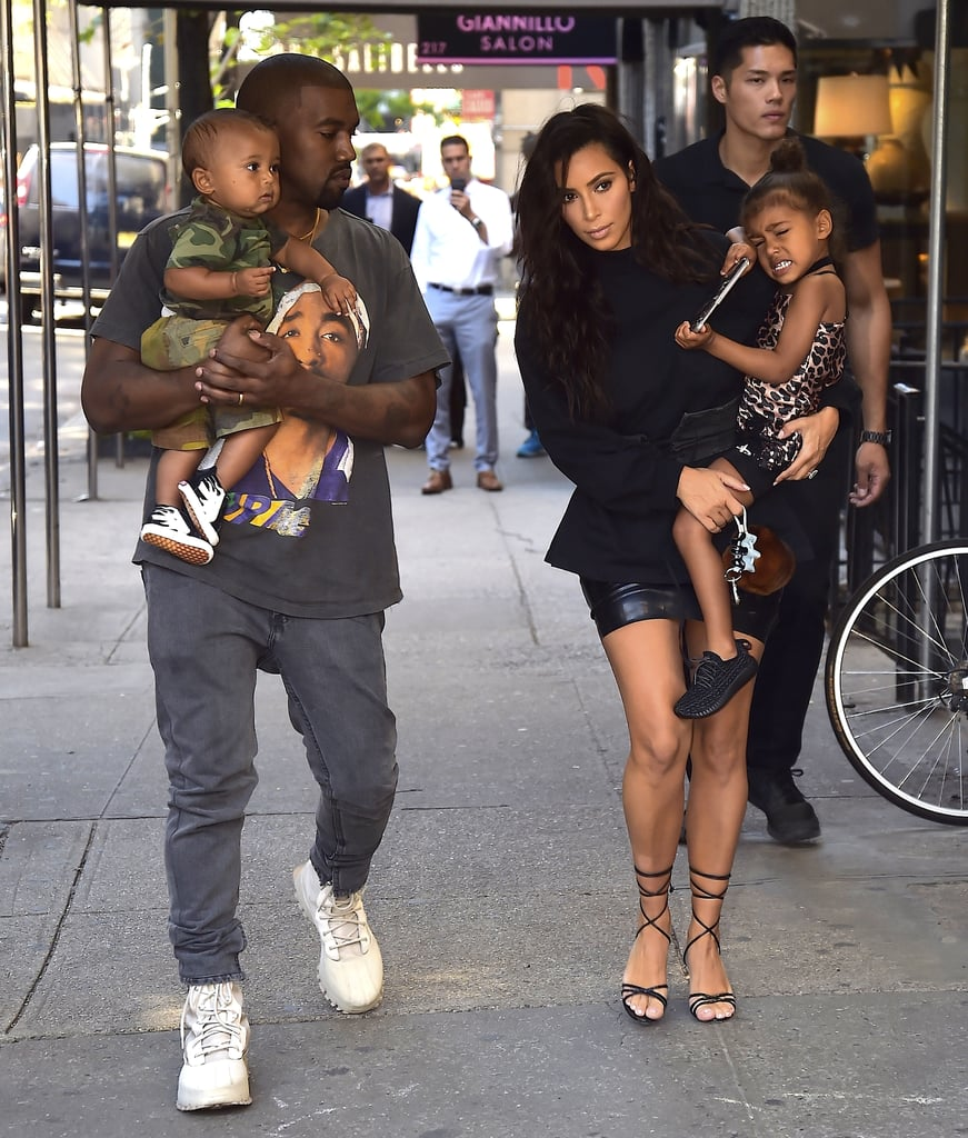Kim Kardashian With Kanye West, North, and Saint in NYC