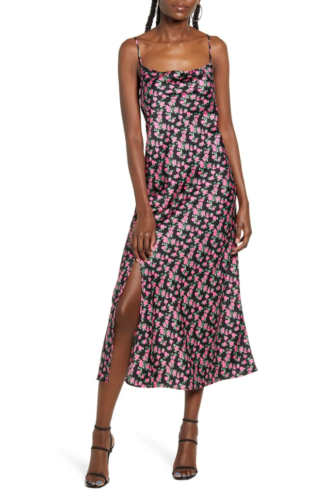 WAYF X Influencing in Color Tanner Cowl Neck Satin Slipdress