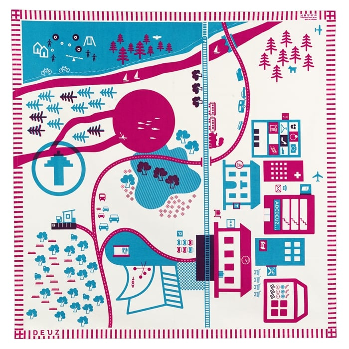 Tapikid organic canvas play mat in blue and pink ($70)