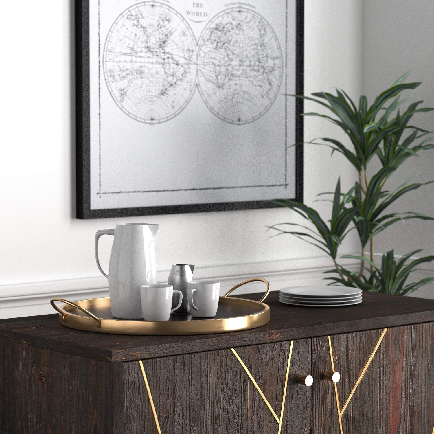 Rivet Contemporary Decorative Round Metal Serving Tray 75 Stunning Decor Pieces That Will Blow You And Your Guests Away Thanks To Amazon Popsugar Home Photo 18