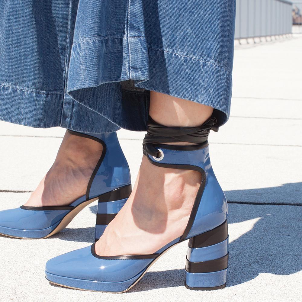 Retro Lady in Blue Sapphire Glaze
