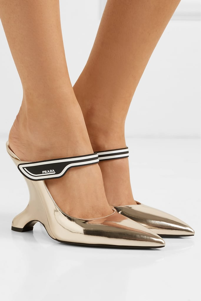 Prada 110 Logo Appliqued Mirrored Leather Mules