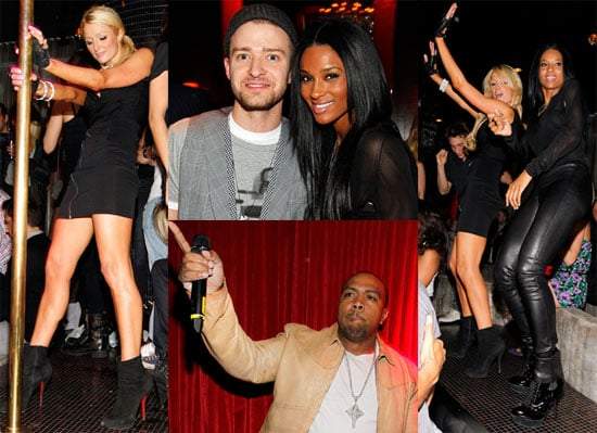 Pictures of Paris Hilton Pole Dancing and Justin Timberlake at Timbalands Birthday Party 2010-04-29 21:30:18