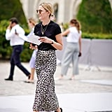 A printed skirt suddenly feels unfussy when you mix it with a t-shirt and sneakers.