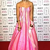 She wore a neon pink princess look for a fashion tribute to Matthew Williamson in 2005.