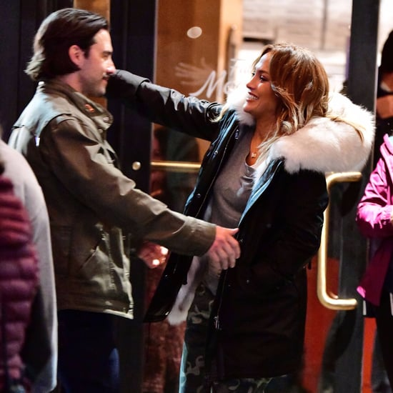 Jennifer Lopez and Milo Ventimiglia on Second Act Set