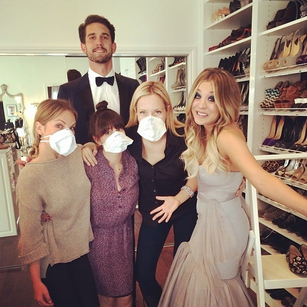 Kaley Cuoco was feeling sick ahead of the SAG Awards, so her glam squad played it cool and wore face masks. Source: Instagram user normancook