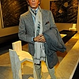 Valentino Garavani and his signature tan attended the PAD London Art and Design Fair.