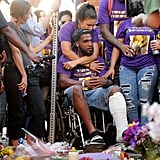 Marcus Martin, who was injured in the crash, attended the vigil.