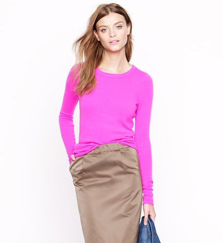 """These cashmere """"tees"""" will become a staple in our closet. In bold hues, like this flash of pink, they're the perfect combination of wow-factor color and an easy silhouette.  J.Crew Collection Cashmere Long-Sleeve Tee ($188)"""