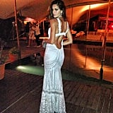 Izabel Goulart rang in the New Year wearing a sexy backless gown. Source: Twitter user iza_goulart