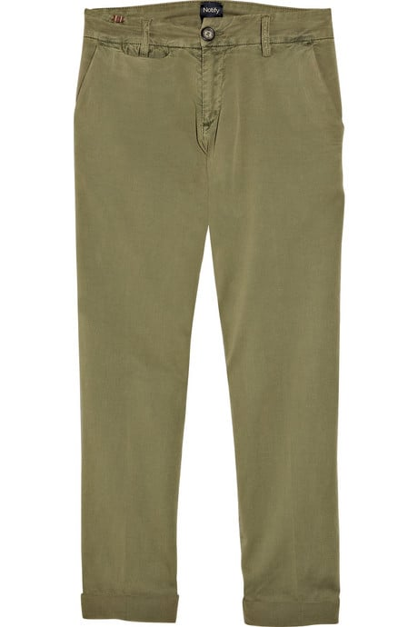 Offset the tomboy quality of these chinos with a slim-fit button-down and a sexier pair of pointed-toe pumps for an effortless office look.  Notify Dionae Cotton-Blend Chinos ($95)