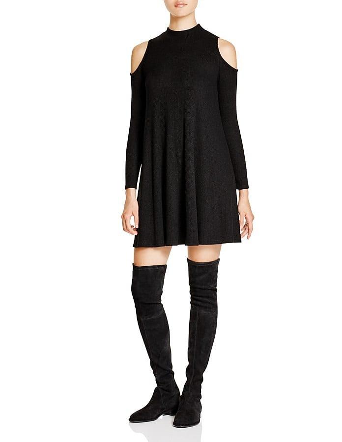 Aqua Ribbed Mockneck Cold Shoulder Dress ($78)