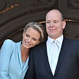 "They had two weddings. Charlene and Albert first said ""I do"" in a civil ceremony in the Throne Room of the royal palace on July 1, 2011, and then again the following day in a religious ceremony. Charlene created her ""something blue."" For the civil ceremony, Charlene wore a blue suit, which she later revealed was a collaboration between her and Karl Lagerfeld. ""We wanted something to match the color of my eyes. It is my creation, and I'm proud of it. It's feminine and keeps with tradition, yet has a little twist that reflects my personal style,"" she told Vogue in 2011. ""I thought it was a nice change to go for trousers instead of a skirt, especially since I'm an athlete and have always kept my clothes clean and simple."" The blue color has since been referred to as ""Charlene Blue."""