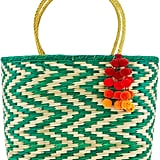 Nannacay Natural & Green Straw Madagascar Tote