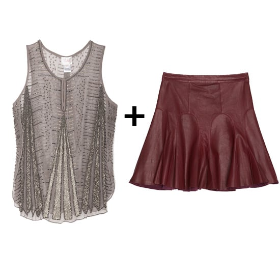 A burgundy leather skirt is a Fall must have, so to make this one more festive this month, sport it with an embellished tank. Finish with black booties and a black blazer for major sharpness.  Get the look: Parker embellished tank ($298) 10 Crosby flared leather skirt ($369, originally $495)