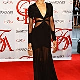 Zoe Saldana was all-out breathtaking in a black Prabal Gurung gown with sheer cutouts at the 2012 CFDA Fashion Awards.