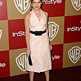 Warm Bodies' Teresa Palmer contrasted a halter-style dress with a classic black belt and pointy-toe kitten heels.