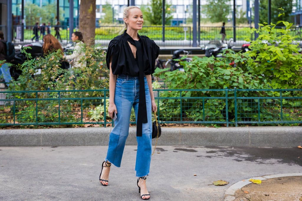 Denim becomes an extraordinary outfit with heels and the right top.